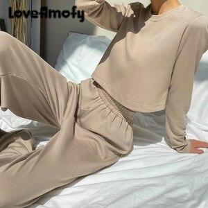 2 Piece Set Women Soft Sweater Fleece Woollen Casual Suit Long-sleeved Sweater Trousers for Women In Pure Color Loose Home Wear