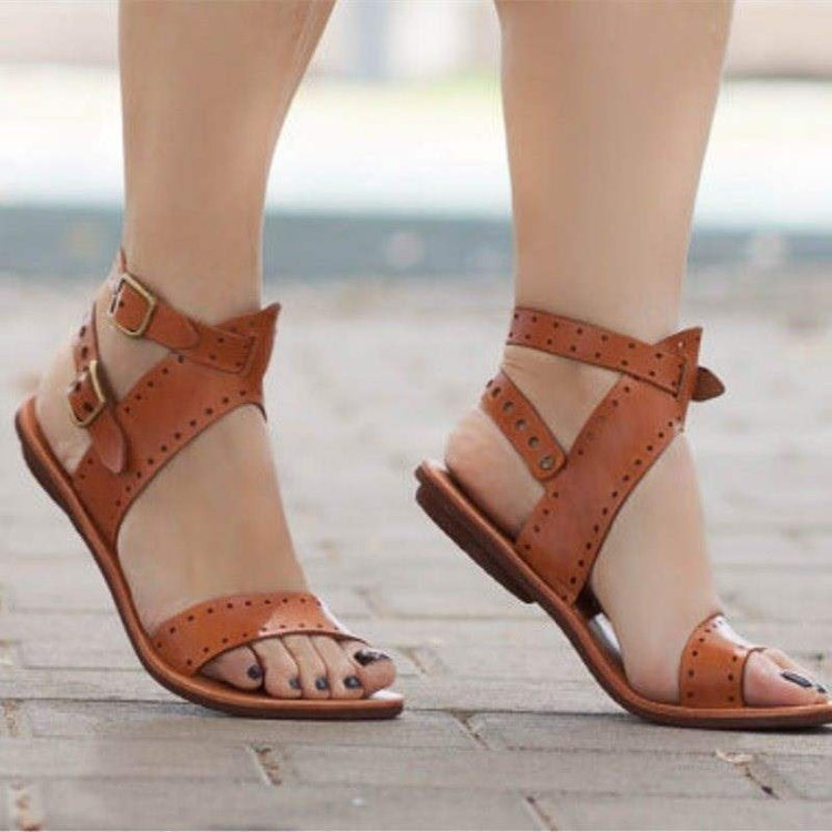 Sandals Summer Shoes Double-Buckle Rome-Style Flat Gladiator Plus-Size Casual Woman Hjm7