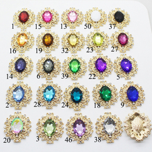 Metal Alloy 10Pcs/Lot 28*24MM Crystal Rhinestone Buttons, Sewing Clothing Crafts DIY Scrapbook Accessories