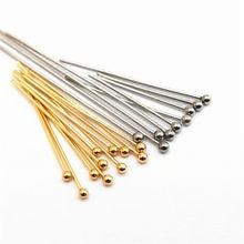22 25 30mm 316 de acero inoxidable de oro bola plateada alfileres de cabeza fabricación de joyería 24-Calibre 50 unids/lote