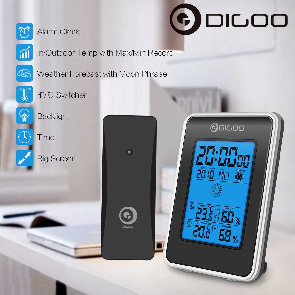 Digoo DG-TH1981 LCD Digital Weather Station + Wireless Outdoor Forecast Sensor Hygrometer Thermometer Clock Blue Backlit