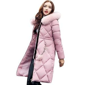 Image 4 - Casaco de inverno de pele grande, feminino, parka, costura, slim, longo, para inverno, de algodão y07