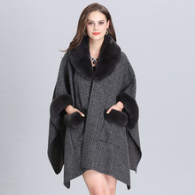 SWYIVY Ladies Fur Cloak Shawl Autumn Winter Coat Cardigan Shawl Female Casual Loose Plaid Open Stitch  Imitation Fox Fur Collar plus shawl collar belted plaid romper