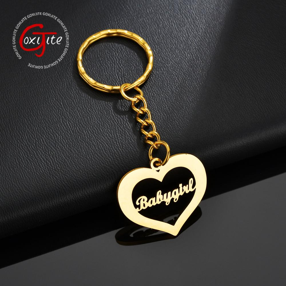 Goxijite Handmade Custom Name Heart Shape Keychain For Women Stainless Steel Gold Heart Nameplate Pendant Keychain Jewelry Gift