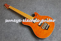 Hot Sale Orange Quilted Finish Music Man Style Electric Guitar Maple Fretboard DIY Guitar Kit Custom Available