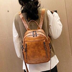 Image 1 - 2020 Vrouwen Rugzak Hoge Kwaliteit Pu Leather Fashion School Rugzakken Vrouwelijke Feminine Casual Grote Capaciteit Vintage Schoudertassen