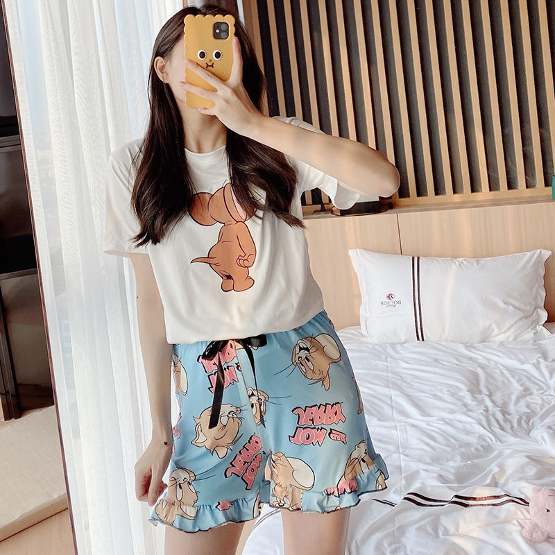 Women Pajamas Shorts Pyjama Round Neck Short Sleeve Set Summer Cartoon Sleepwear Casual nightwear homewear|Pajama Sets| - AliExpress