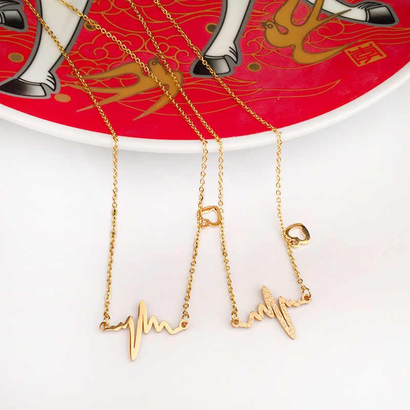 Olowu kobiety naszyjnik w kształcie serca ze stali nierdzewnej na prezent na walentynki Chic ekg Pulse wisiorek naszyjniki matowy połysk 18IN