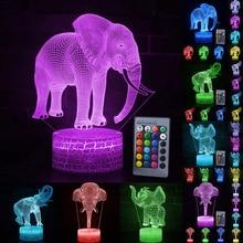 Elephant Pattern 3D LED Night Light Remote/Touch Control Fashion  7/16 Color Change LED Table Desk Lamp Kids Xmas Gift Decor D30