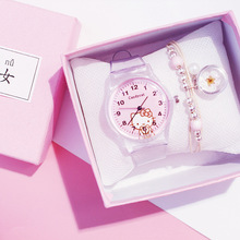 Cute Pink Children Watches Girls Fashion Transparent Cartoon Kids