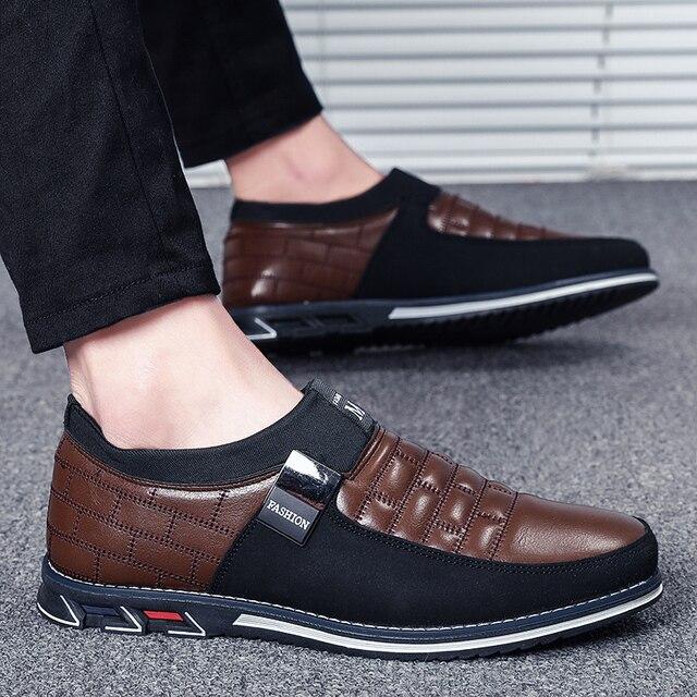 Autumn shoes men casual leather shoes leather high quality comfortable shoes light black shoes   men men casual shoes