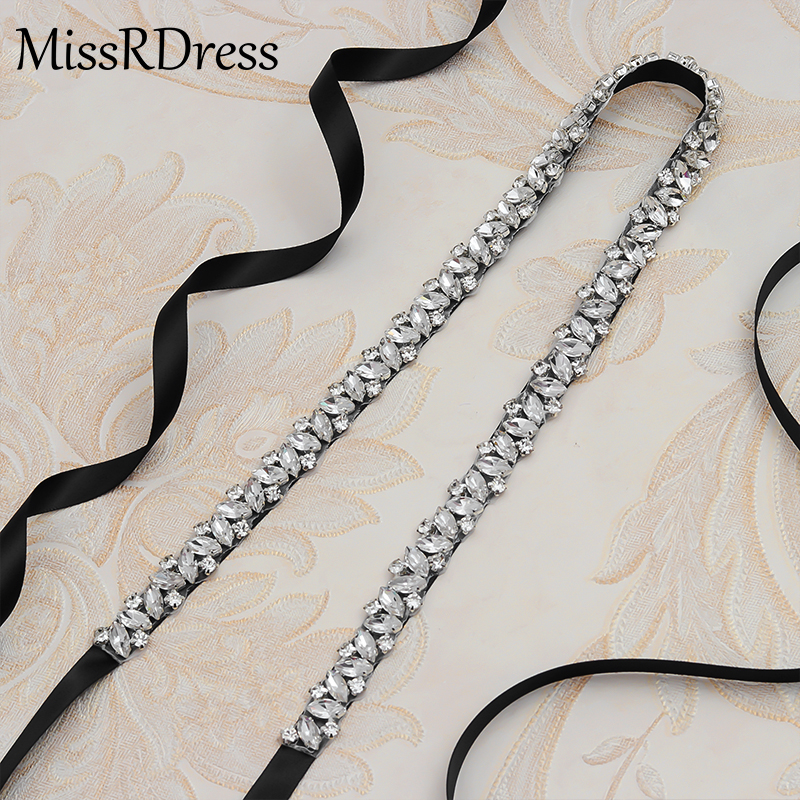 Wedding Belt Rhinestones Sash Silver Diamond Crystal Bridal Belt For Wedding Gown Wedding Decoration JK863