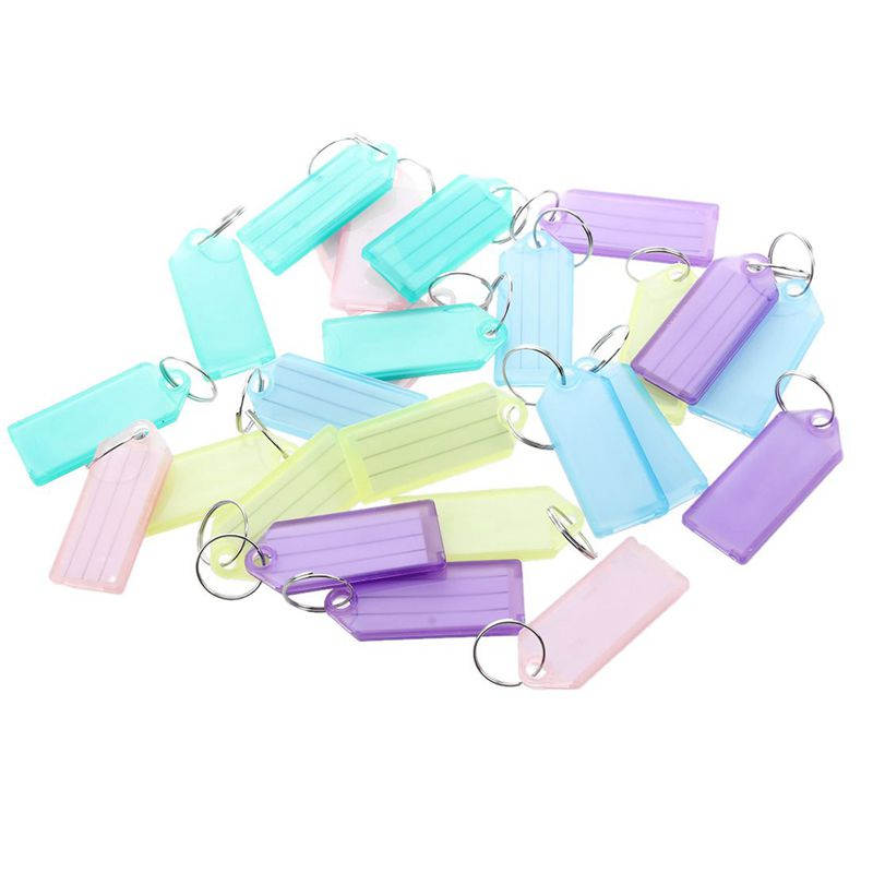 Barber Colorful Plastic Name Tag Badge Clip Holder Key Chain 25 Pieces
