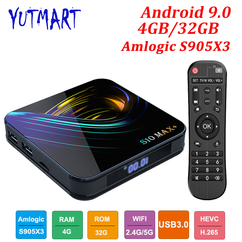 Android 9.0 TV BOX 4GB RAM 32GB lecteur multimédia intelligent Amlogic S905X3 Quad Core USD3.0 BT4.2 4K WIFI Google lecteur Youtube S10 MAX +