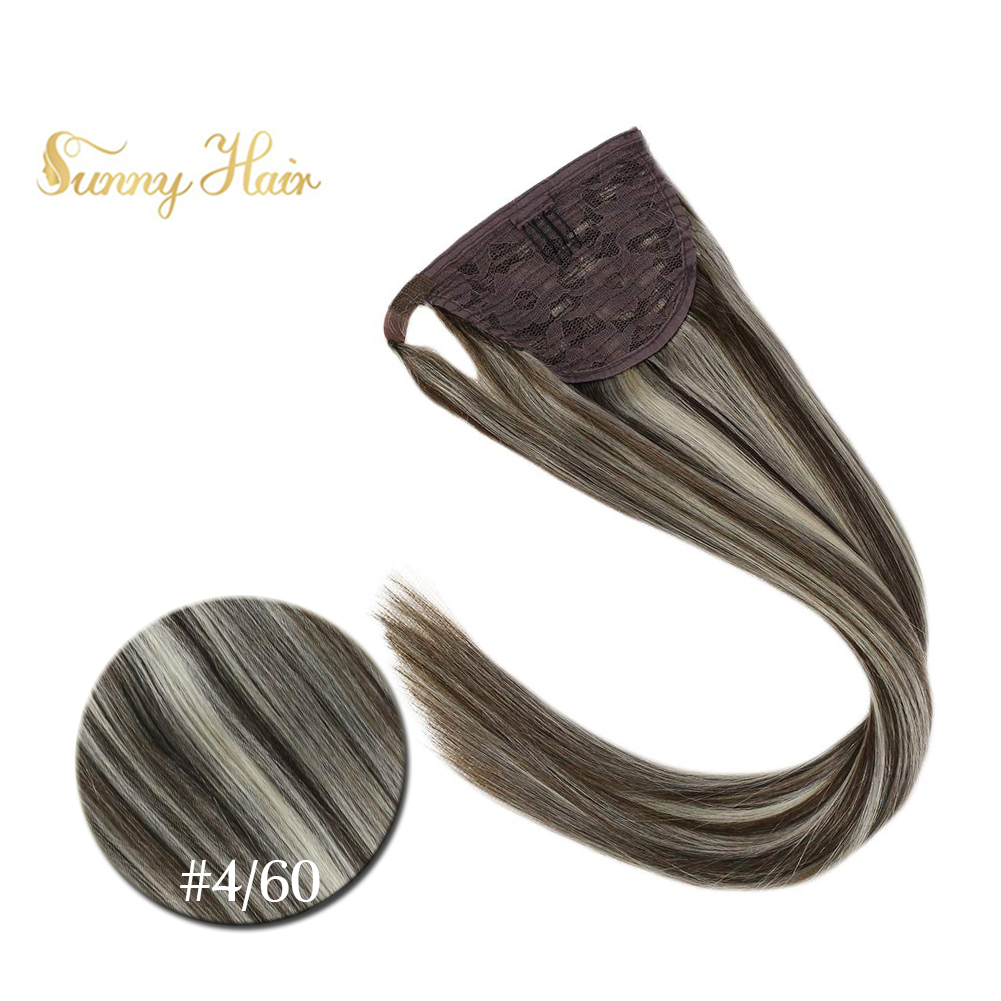VeSunny Ponytail Extensions Wrap Around Magic Tape 100% Human Hair Highlights Brown Mix Blonde #4/60