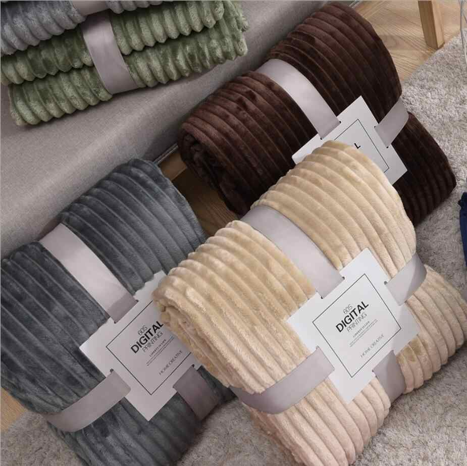 Soft Warm Coral Fleece Blanket Winter Sheet Bedspread Sofa Plaid Stripe Throw Light Thin Mechanical Wash Flannel Blankets