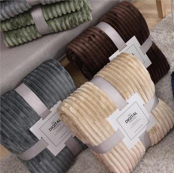 Soft Warm Coral Fleece Blanket Winter Sheet Bedspread Sofa Plaid Stripe Throw Light Thin Mechanical Wash Flannel Blankets