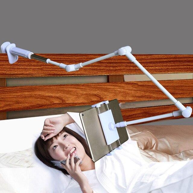 Składany uchwyt na Tablet z długim ramieniem do ipada Pro 12.9 11 10.5 Samsung Kindle 4-14 calowy uchwyt do tabletu Lazy Bed