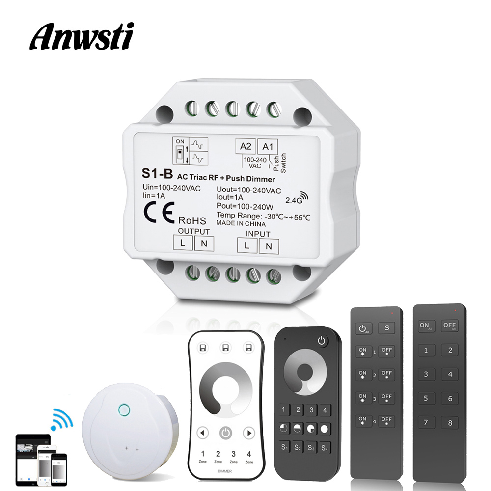 220V Triac Dimmer RF2.4G Wireless Remote Control Push Switch LED Bulb Lamp AC 110V 230V 220V Smart Wifi LED Dimmer Light Switch