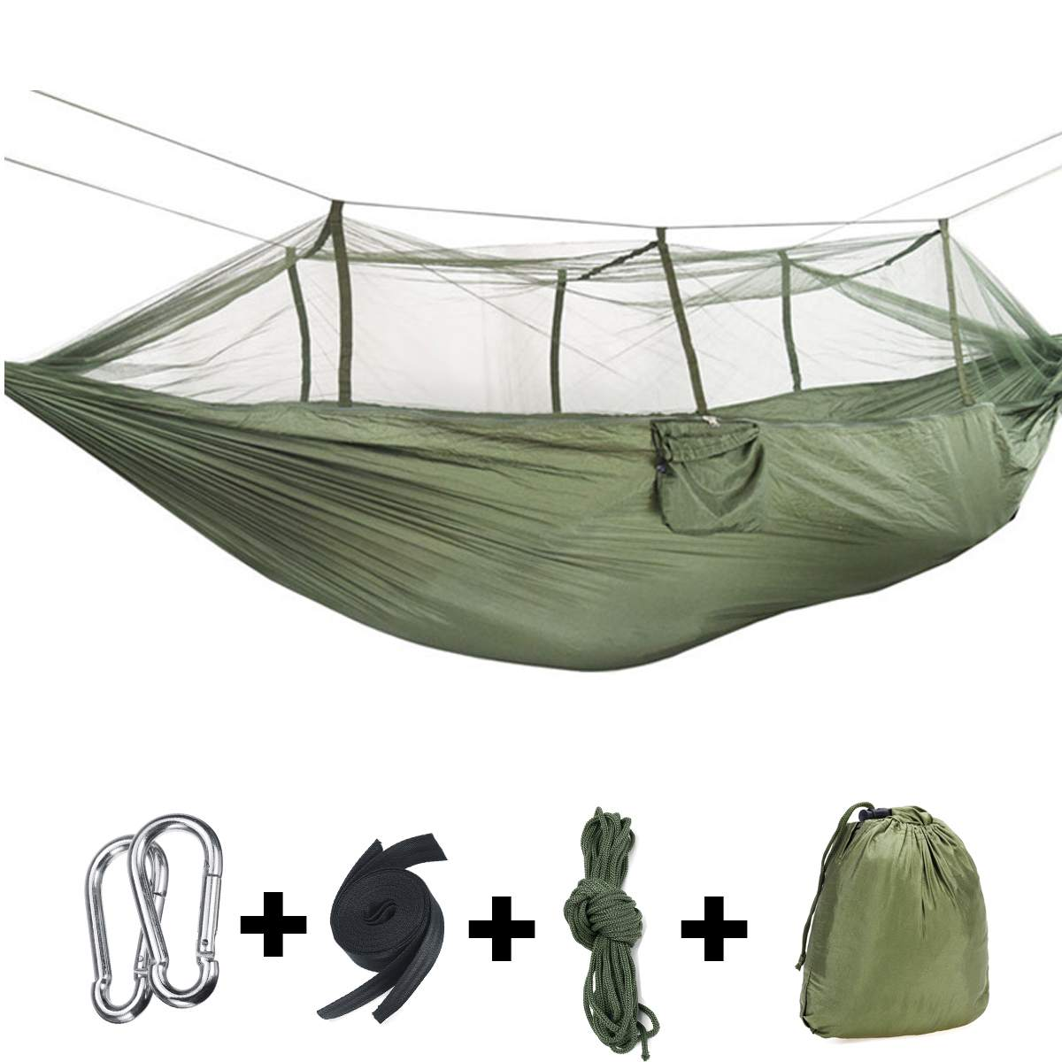 Outdoor Camping Hammocks With Mosquito Net 1-2 Person Portable Travel Camping Fabric Hanging Swing Hammocks Bed Garden Furniture