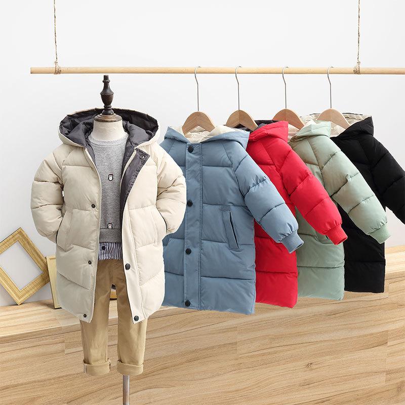 Winter Girls Kids Parka Cotton Padded Long Mix-color Jacket Fur Hooded Warm Coat