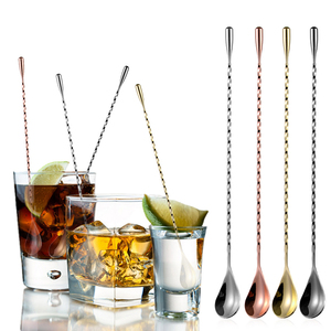 Mixing Spoon Stirrer Stainless Steel Spiral Pattern Long Handle Bar Cocktail Shaker Spoon Cocktail Stirrer Drinks Stirring Spoon