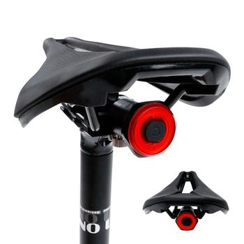 NEWBOLER-Inteligentne tylne światło roweru automatyczne zaświecanie i wyłączanie wyczuwanie hamulców IPx6 wodoodporne ładowanie USB lampa na tył jazda na rowerze światło LED tanie i dobre opinie Rohs CN (pochodzenie) Bycicle light 031 Sztyc rowerowa Baterii Flashlight For Bicycle Black Red Auto Manual Optional 500mAh