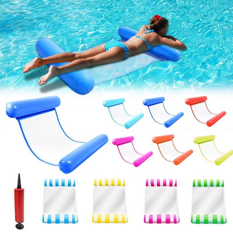 Hangmat de água fauteuil opblaasbare drijvenda cama zwembad drijvenda zwemmen barras zee zwemmen anel com bomba