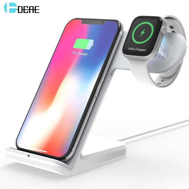 2 In 1 şarj standı istasyonu için Apple izle 5 4 3 2 Airpods Qi kablosuz şarj standı telefon tutucu iPhone 11 XS Max XR X 8