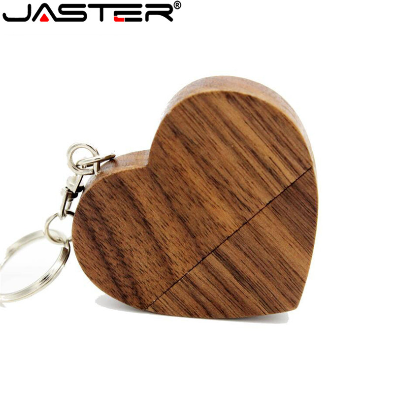 JASTER USB 2.0 Wooden Heart USB Flash Drive Pendrive 64GB 32GB 16GB 4GB U Disk Memory Stick For Photography Gifts 1PCS Free Logo