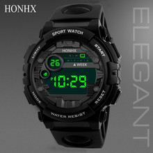 Luxury Mens Digital Led Watch Sport Men Outdoor Date Electronic Watches Waterproof Wrist Watch Clock Male Montre Homme cheap WHooHoo NONE Acrylic CN(Origin) 24 6cm 3Bar Bracelet Clasp ROUND 20mm 16mm Back Light LED Display Alarm No package Digital Wristwatches