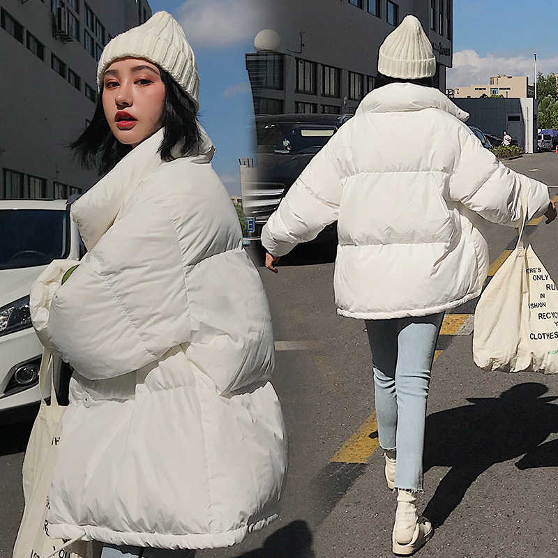 RICORIT Winter Jacket Women Solid Color Stand Collar Down Coat Loose Parkas Korean Female Oversized Jackets Пуховик Женский