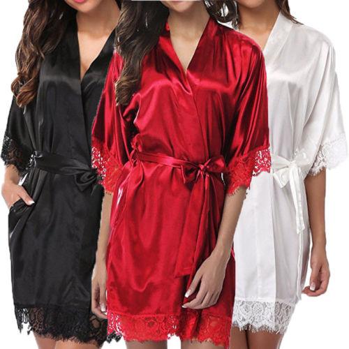 2020 Fashion Women Lace Sleepwear Girls Sexy Short Sleeve Underwear Imitation Ice Silk Sleepwear Set Lady Nightgowns