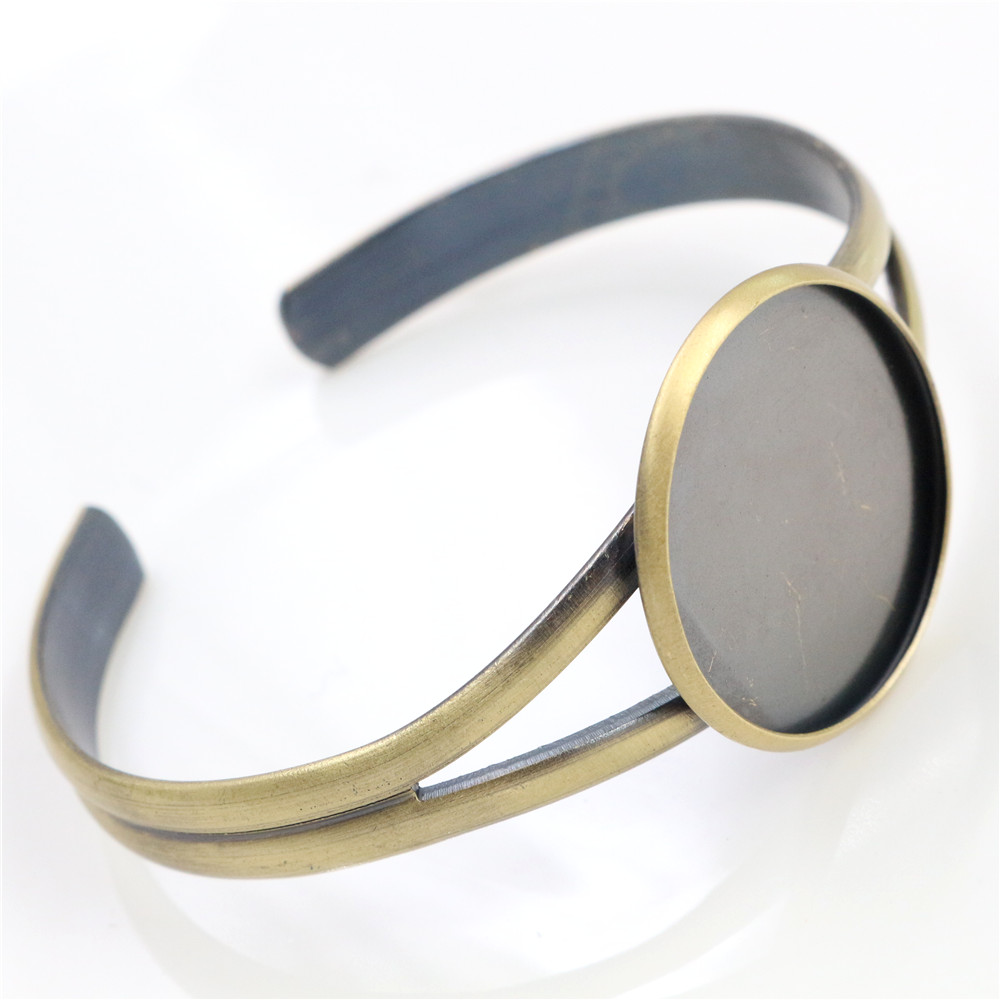 High Quality  25mm Bronze Brushed Metal Plated Bangle Base Bracelet Blank Findings Tray Bezel Setting Cabochon Cameo (L6-24)