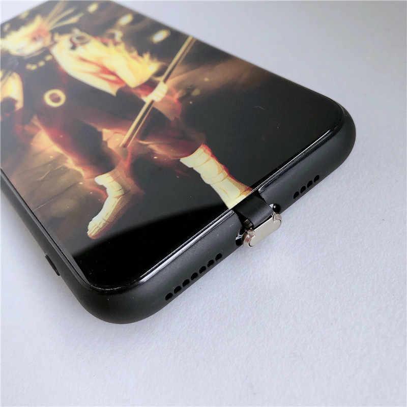 ناروتو ساسوكي دعوة ضوء حقيبة لهاتف أي فون 11 8 7 6 6S زائد LED حالات الزجاج المقسى كوكيه فلاش غطاء آيفون XR XS ماكس فوندا
