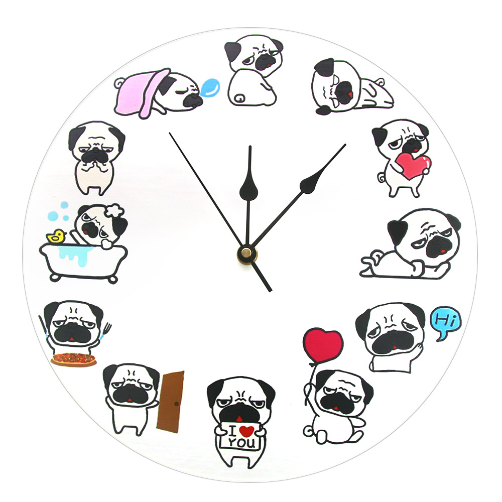 Cartoon Dog Puppy Breed Printed Wall Clock Duvar Saati Modern Design Silent Creative 12'' Different Pug Life Pet Lover Gift