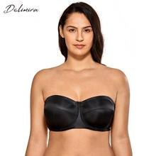 Delimira Womens No Padding Underwire Ultra Support Convertible Strapless Bra