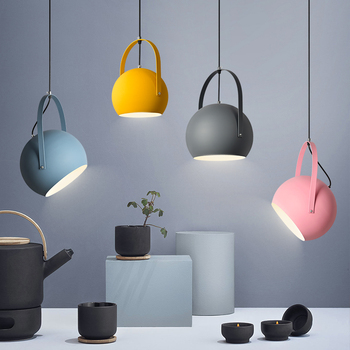 Nordic Macaron Iron Pendant Lights for Living Room Bedroom Luminaire Modern Led Round Hanging Lamp Loft Home Decor Light Fixture