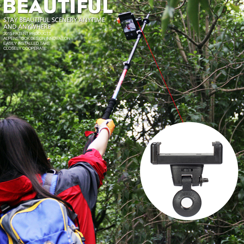 New Outdoor Tool Smartphone Bracket Adapter Clip Extension Pole Phone Clip Trekking Pole Phone Camera Clamp Bluetooth Remote S