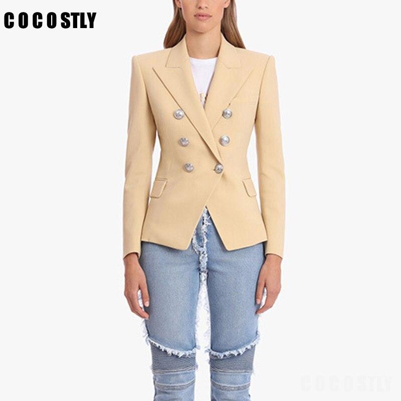 Elegant Suit For Women Blazer Jacket Long Sleeve Double Breasted Slim Suit Jacket Office Lady Solid Color Feminine Blazer