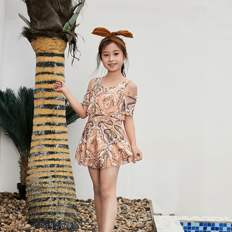 Children South Korea Big Boy Bathing Suit GIRL'S Dress-Swimwear Girls Cute Princess Hot Springs Tour Bathing Suit