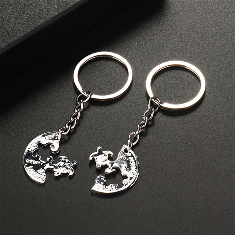1 Pair Fashion Silver Plated Turtle Puzzle Coin Pendant Keychain Lovers Couples Keyring Friendship Gift For Best Friends