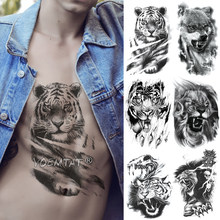 Schets Tiger Tijdelijke Tattoo Sticker Leeuw Wolf Waterdicht Tatto Warrior Soldier Vleugels Body Art Arm Fake Tatoo Mannen Vrouwen(China)