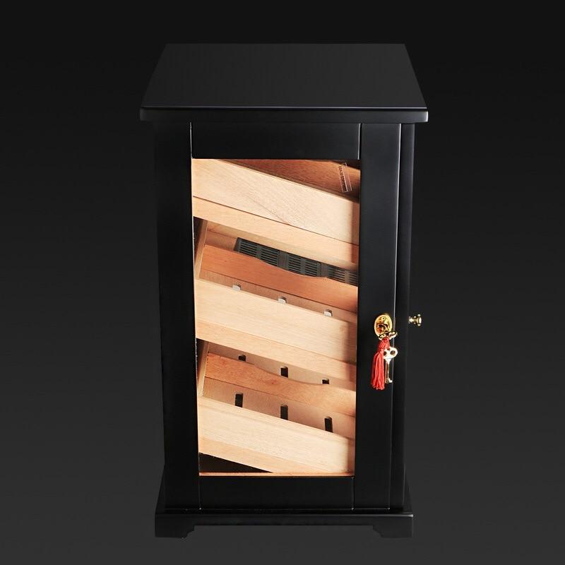 Zwarte kast sigaar humidor hoogwaardige meerdere lak cederhout 3 sigaret opbergdoos case aansteker Met Hygrometer - 5