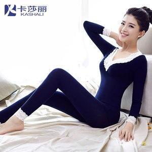 Осенне-зимнее хлопковое термобелье, сексуальное кружевное белье, комплекты нижнего белья для женщин, с длинным рукавом, теплое боди, Корректирующее белье, пижамы, Пижамный комбинезон