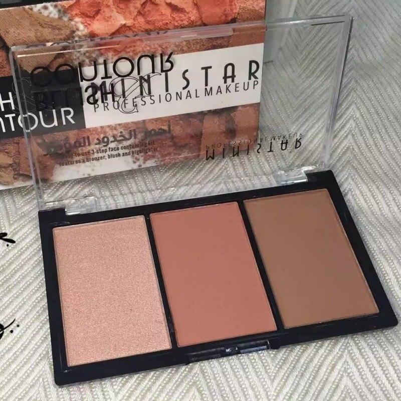 3 Colors Shimmer Matte Blush Bronzer Face Contour Blush Palette Powder Highlighter Makeup