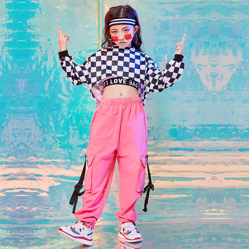 Hip Hop Costumes Girls Fashion Plaid Top Pink Overalls Pants Jazz Dance Stage Rave Outfit Kids Street Dancing Clothes DN3952