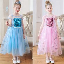 цены Disfraz elsa fille dress roupas infantis menina kids princess party dresses for girl deguisement enfant vestido menina costume