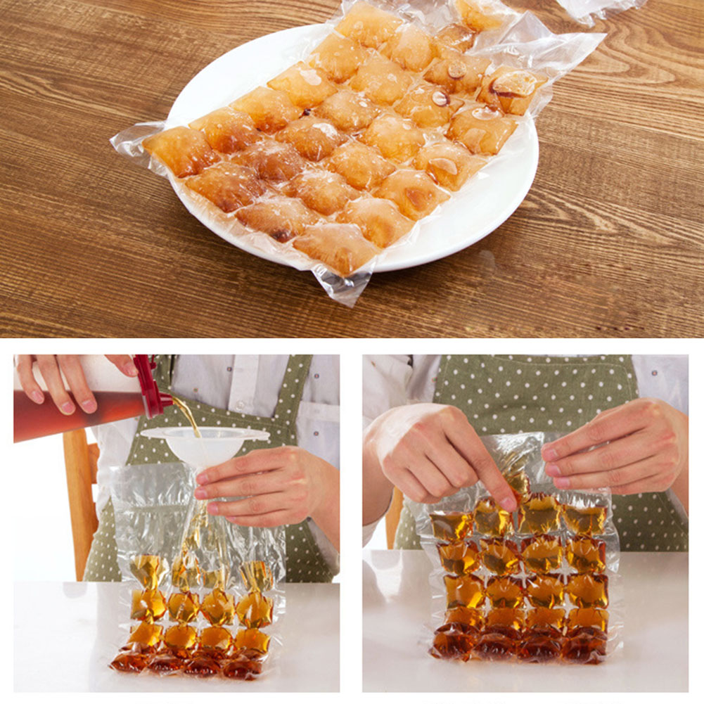Disposable Ice Cube Bags Clear Fridge Freezer Plastic BBQ Party Cubes Maker Tray