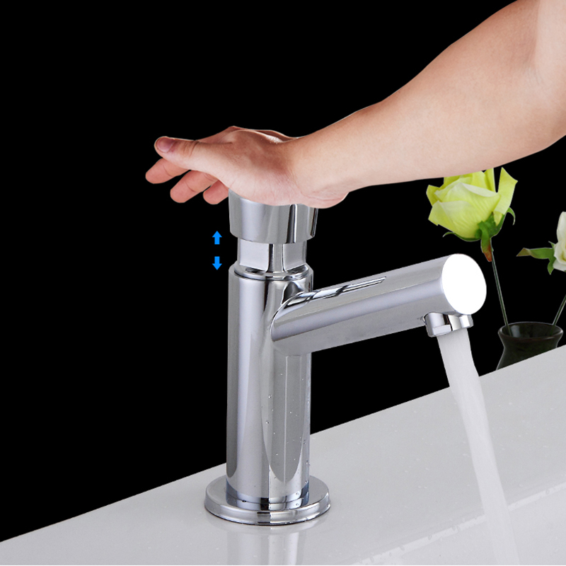 Bathroom Basin Faucet Time Delay Faucet Touch Press Cold Water Tap Public Toilet Metered Faucet Brass Time Delay Faucet